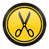 scissors icon, yellow logo, cut sign