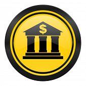 bank icon, yellow logo,
