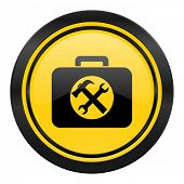 toolkit icon, yellow logo, service sign