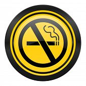no smoking icon, yellow logo,