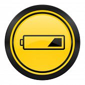 battery icon, yellow logo, charging symbol, power sign
