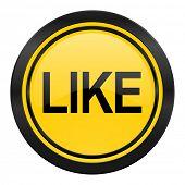 like icon, yellow logo,
