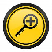 lens icon, yellow logo,