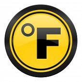 fahrenheit icon, yellow logo, temperature unit sign