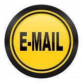 email icon, yellow logo,
