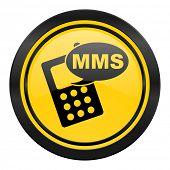 mms icon, yellow logo, phone sign