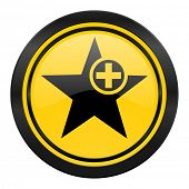 star icon, yellow logo, add favourite sign