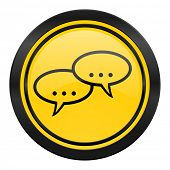 forum icon, yellow logo, chat symbol, bubble sign