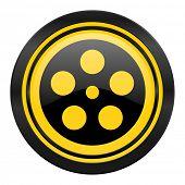 film icon, yellow logo,