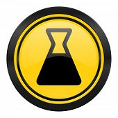 laboratory icon, yellow logo,