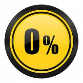 0 percent icon, yellow logo, sale sign