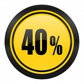 40 percent icon, yellow logo, sale sign