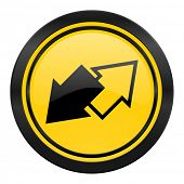 exchange icon, yellow logo,