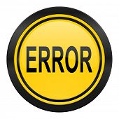 error icon, yellow logo,