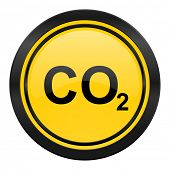 carbon dioxide icon, yellow logo, co2 sign