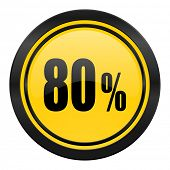 80 percent icon, yellow logo, sale sign