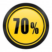 70 percent icon, yellow logo, sale sign