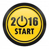 new year 2016 icon, yellow logo, new years symbol