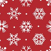 Seamless Snowflakes Pattern on Red