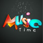 Stylish shiny text of Music Time with musical notes on dark grey background.