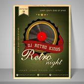 Stylish banner or flyer for retro night party with address bar, place holder and mailer.