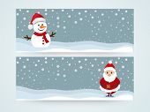 Website header or banner set with smiling snowman and Santa Claus on winter background.