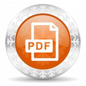 pdf file orange icon, christmas button