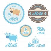 Set of labels and symbols for milk in vector