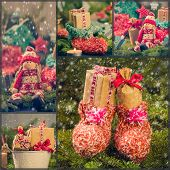 Collage Christmas Decorations Gifts Spruce Santa Claus Snow Snowing