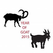 Black silhouette vector goat icon for logo  calendar or zodiac signs.