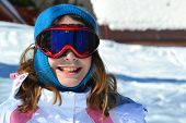Young girl in ski resort