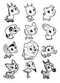 Farm and wild animals in black and white. Vector cartoon isolated characters.