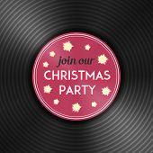 Christmas party flyer with vinyl record disc on it. New year celebration invitation.