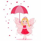 Cute fairy tale with umbrella and heart rain vector