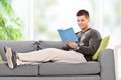 Young guy relaxing with a book at home seated on a couch