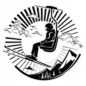 Skier sitting at ski lift in high mountains. Vector illustration in the engraving style