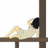 woman pose lie down sleep porch wood dress back pale