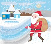 Santa Claus comes to the village with gifts (Christmas card)