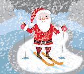 Santa Claus skiing (Christmas card)
