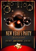 2015 New Year's Party Flyer design for nigh clubs event with festive Christmas themed elements and space for your text.