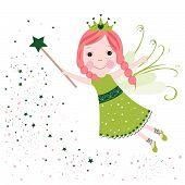 Cute fairytale green stars shining vector