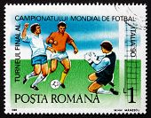 Postage Stamp Romania 1990 Soccer Players In Action