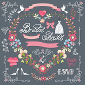Bridal Shower Template Set.decor Element,floral Wreath