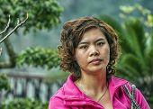 Closeup Of Vietnamese Woman In Pink Vest.