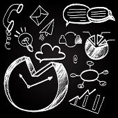 Chalkboard With Hand Drawn Business Doodle Icon Set