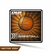 Basketball vector icon or button