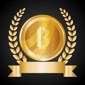 picture of bitcoin  - Bitcoin design over black background - JPG