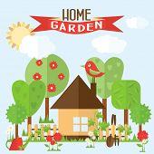 foto of bird fence  - Vector garden illustration in flat style - JPG