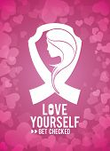 foto of causes cancer  - Cancer design with women over pink background - JPG