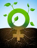 image of libido  - Stylized plant in shape of woman sign in ground - JPG